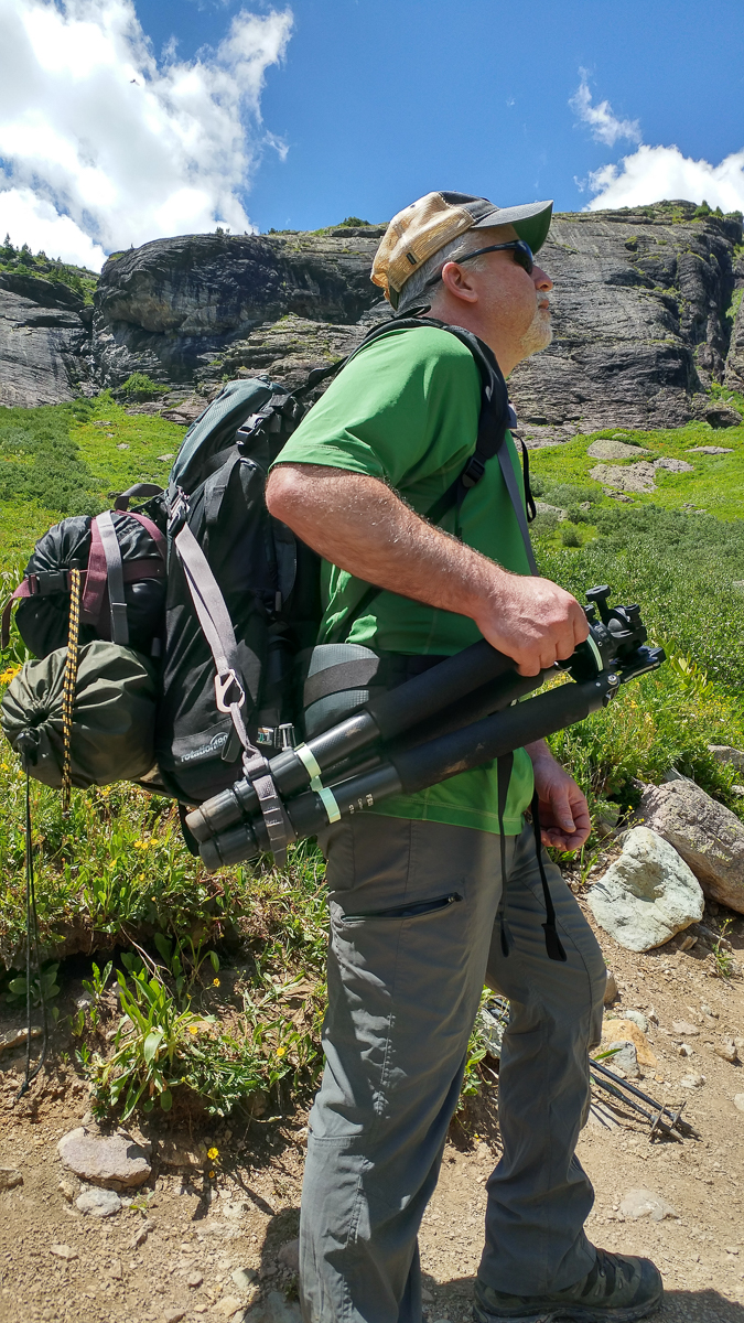 Mike carries his tripod with the super easy to access Tripod Suspension Kit