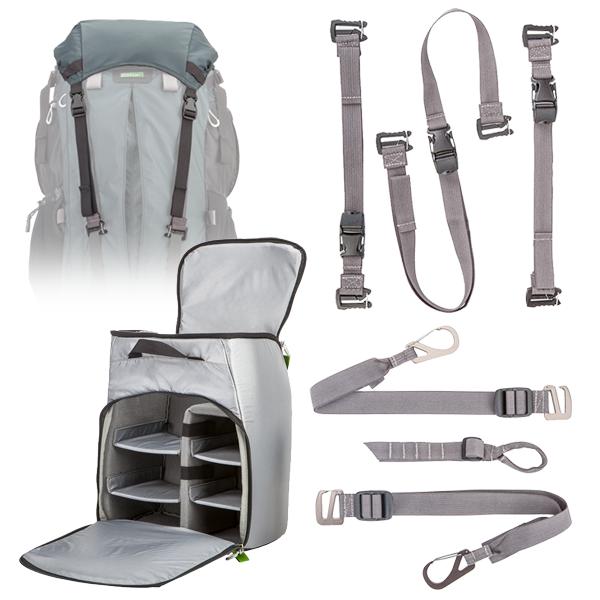 The Pro Bundled Accessories Kit which includes the Photo Insert, Top Pocket, Attachment Straps, and Tripod Suspension Kit