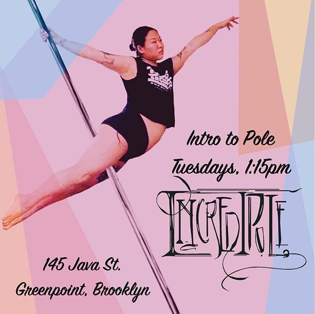 You'll be surprised at what your body is capable of. But you won't know 'til you try. 💕 Join @yooneytunes for Intro to Pole at 1:15p First time students pay only $20! • (#Repost @yooneytunes ) • • • #incredipole #poledance #poledancer #poledancing #polefitness #polefit #newbiepole #strength #fitchicks #strongladies #womeninbusiness #womenentrepreneurs #smallbusiness #greenpoint #greenpointers #brooklynpole #unitedbypole #poleeverydamnday #passionforpoledance #poledancenation #ig_poledance #classpass #classpassnyc