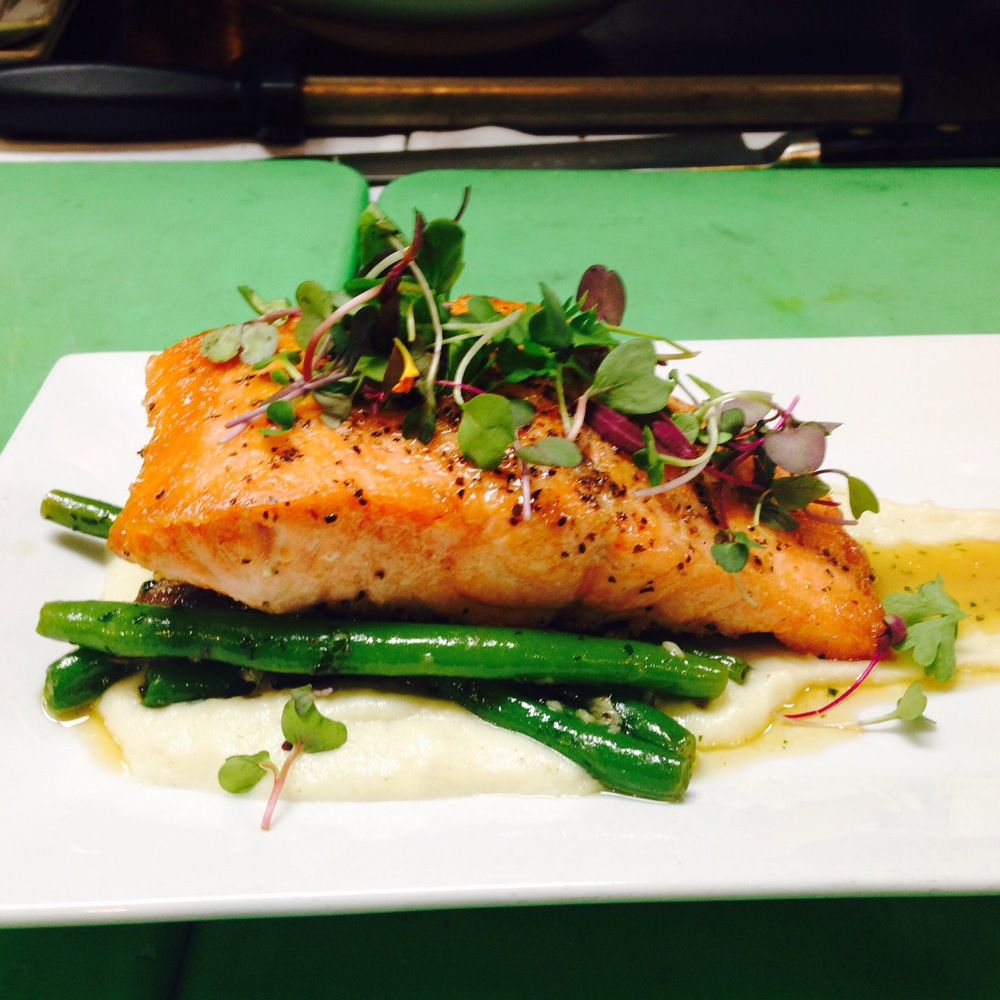 Pan Seared Salmon with summer vegetables with honey Apple cyter