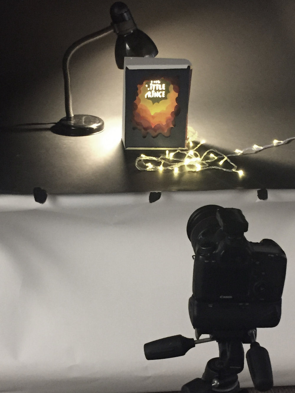 Photographing the light box with fairy lights