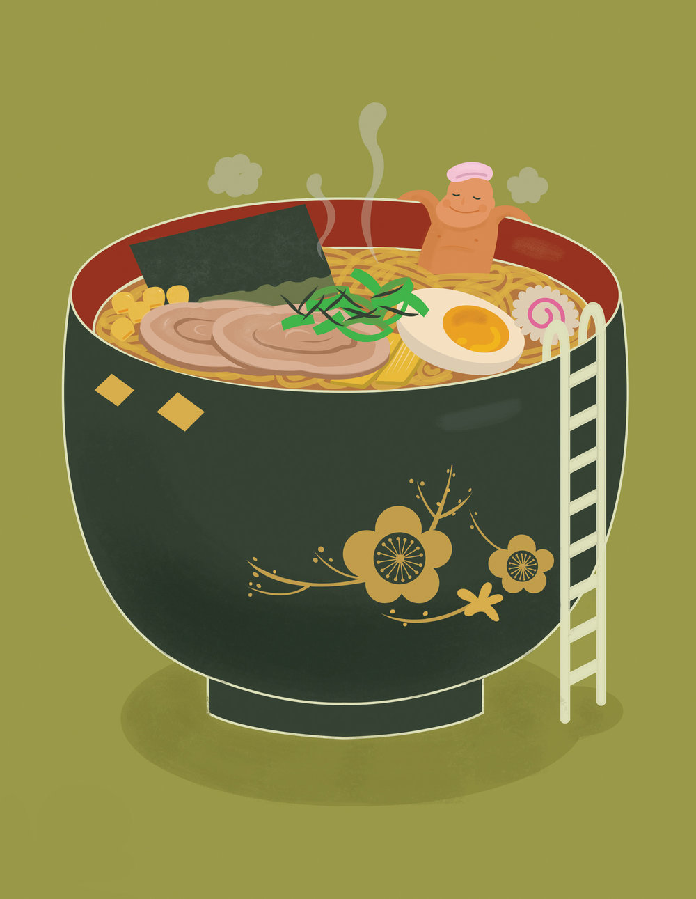 Ramen onsen vector illustration