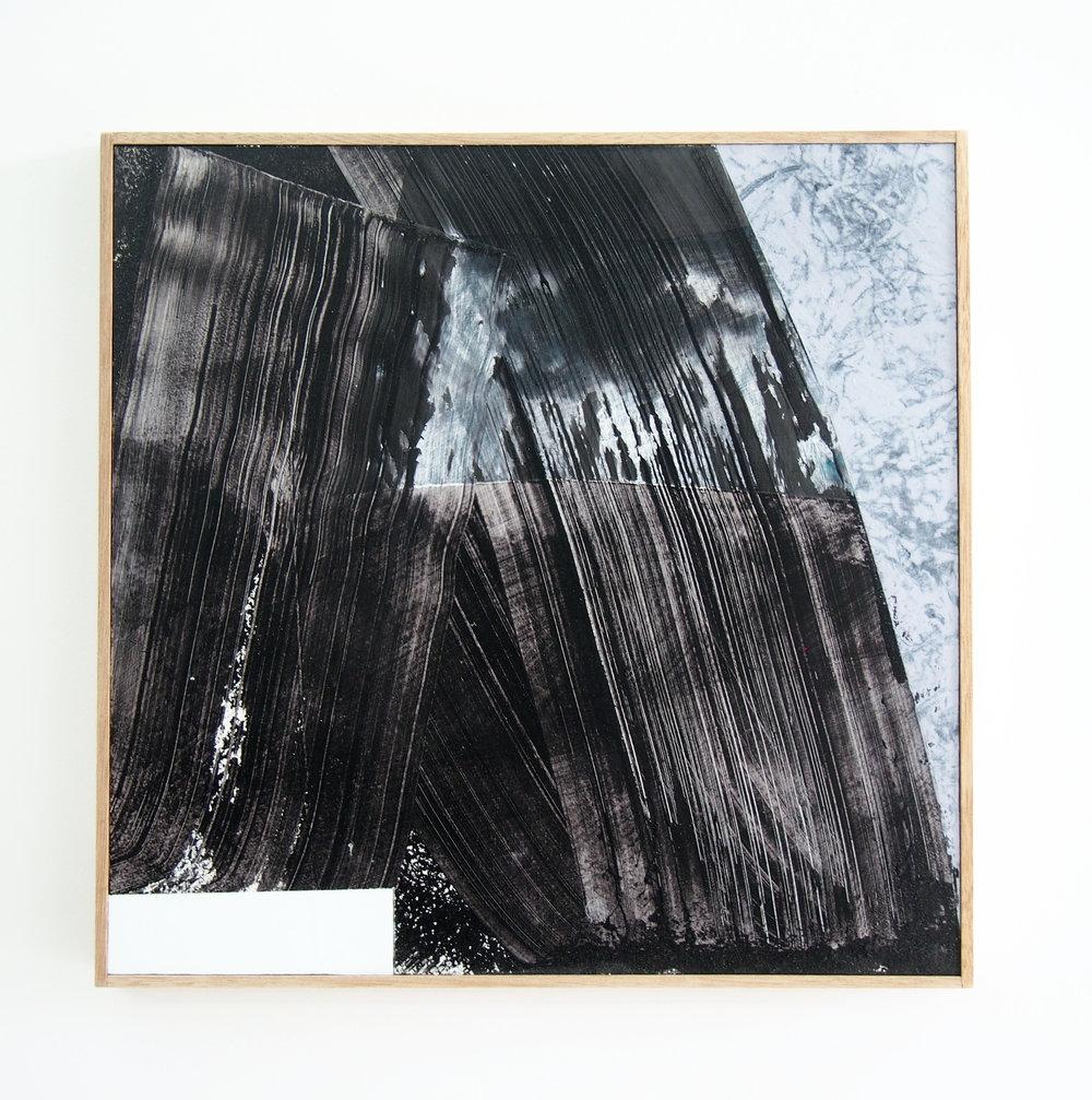 MICHAEL BENNETT  'Stop, Drop & Roll',2017, mixed media on board, framed in Tasmania oak 57x57cm $1,800 AUD