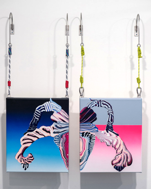ZOE KIRKWOOD  'Untitled #2', 2016,acrylic on canvas, ropes, stainless steel wall brackets & xings each panel 45 x 38 cm $2,200