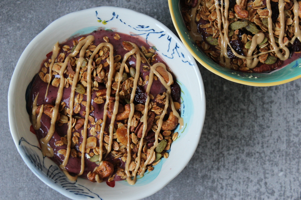 Acai bowls with granola and cashew butter drizzle are everything.