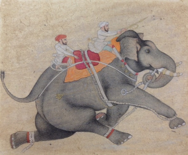 Painting by Ajay Sharma,  Elephant, 2012. Sepia on paper, 13 x 16cm. Image credit: AirSpace Projects.