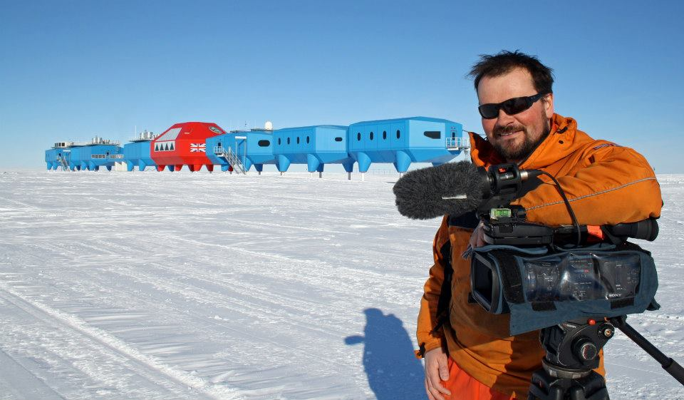 Myself filming the building of Halley VI