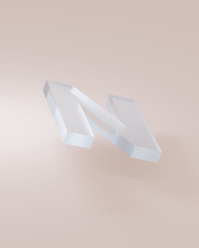 It starts with No.  _ #36daysoftype #36daysoftype_n #3d #glass #light #shadow #minimal #neuehaasgrotesk