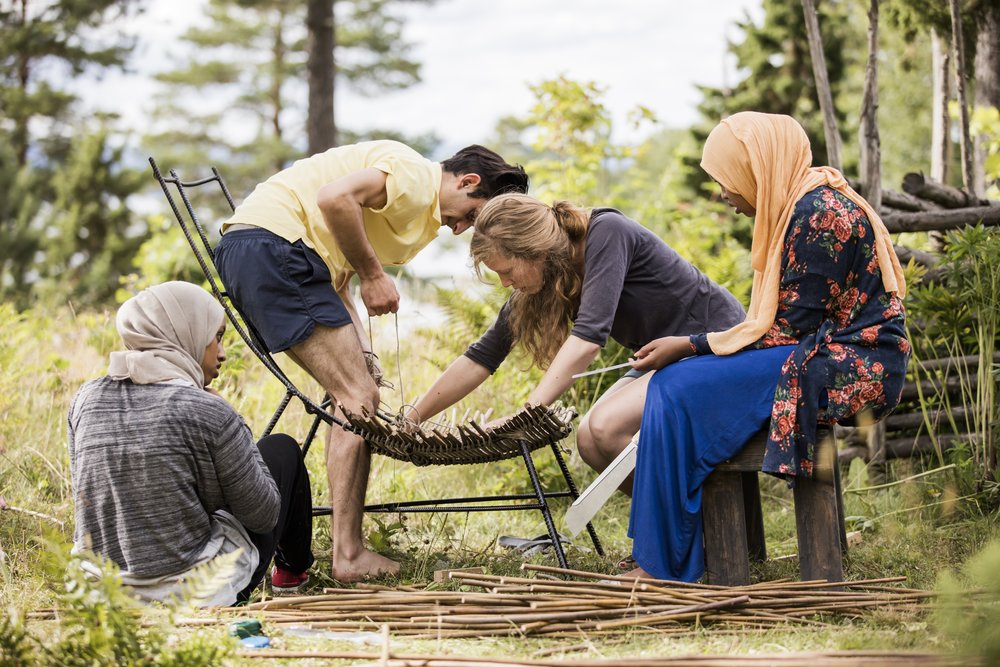Workshop with Forma makers collective to make outdoor furniture at Wetershus, Sweden.