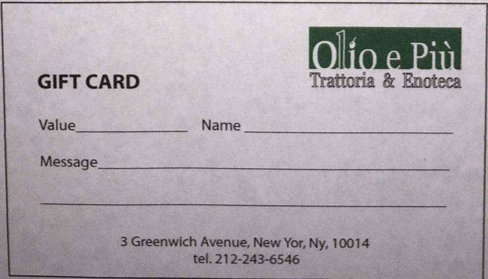 Olio e Piú Gift Card, $50+