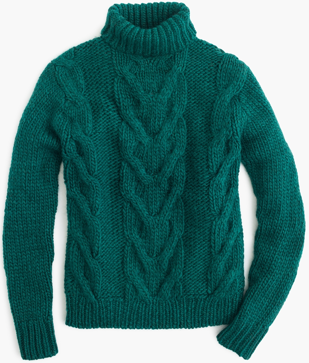 J.Crew Italian Wool Cable Turtleneck Sweater, $168