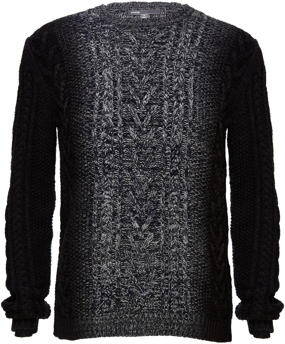VINCE Wool Cashmere Marled Cable Knit Dégradé Crew Neck Sweater, $395