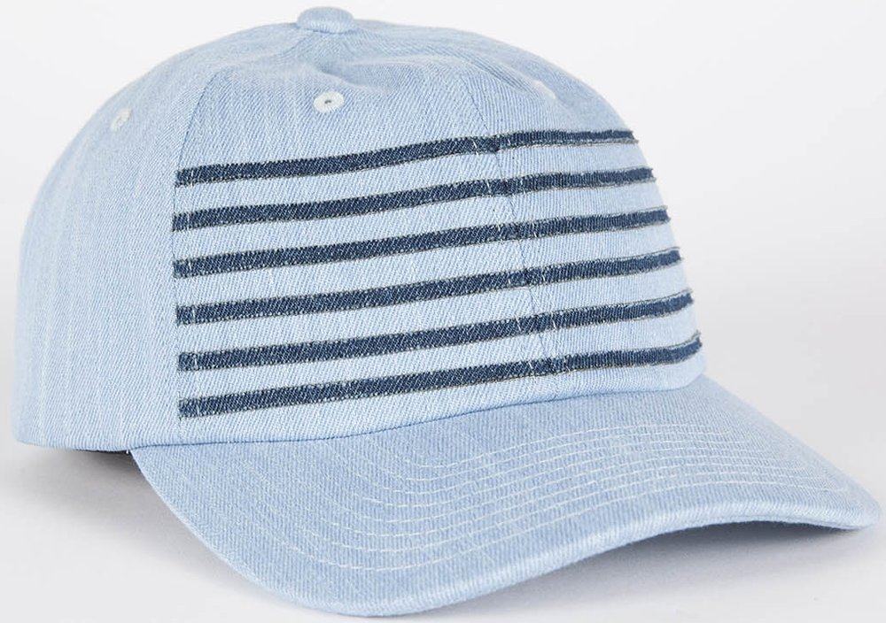 Grungy Gentleman x Mitchell & Ness 6 Stripe DENIM Strap Back Hat, $45