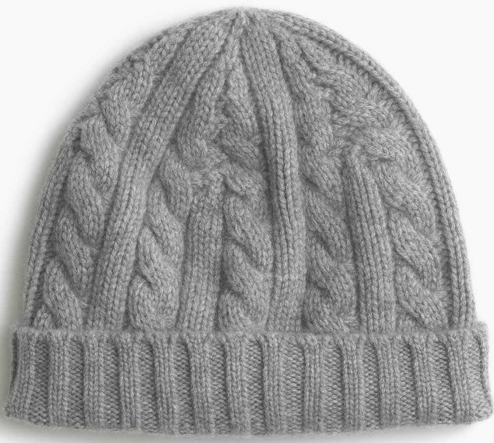 J.Crew Mens Cashmere Cable-Knit Beanie Hat, $80