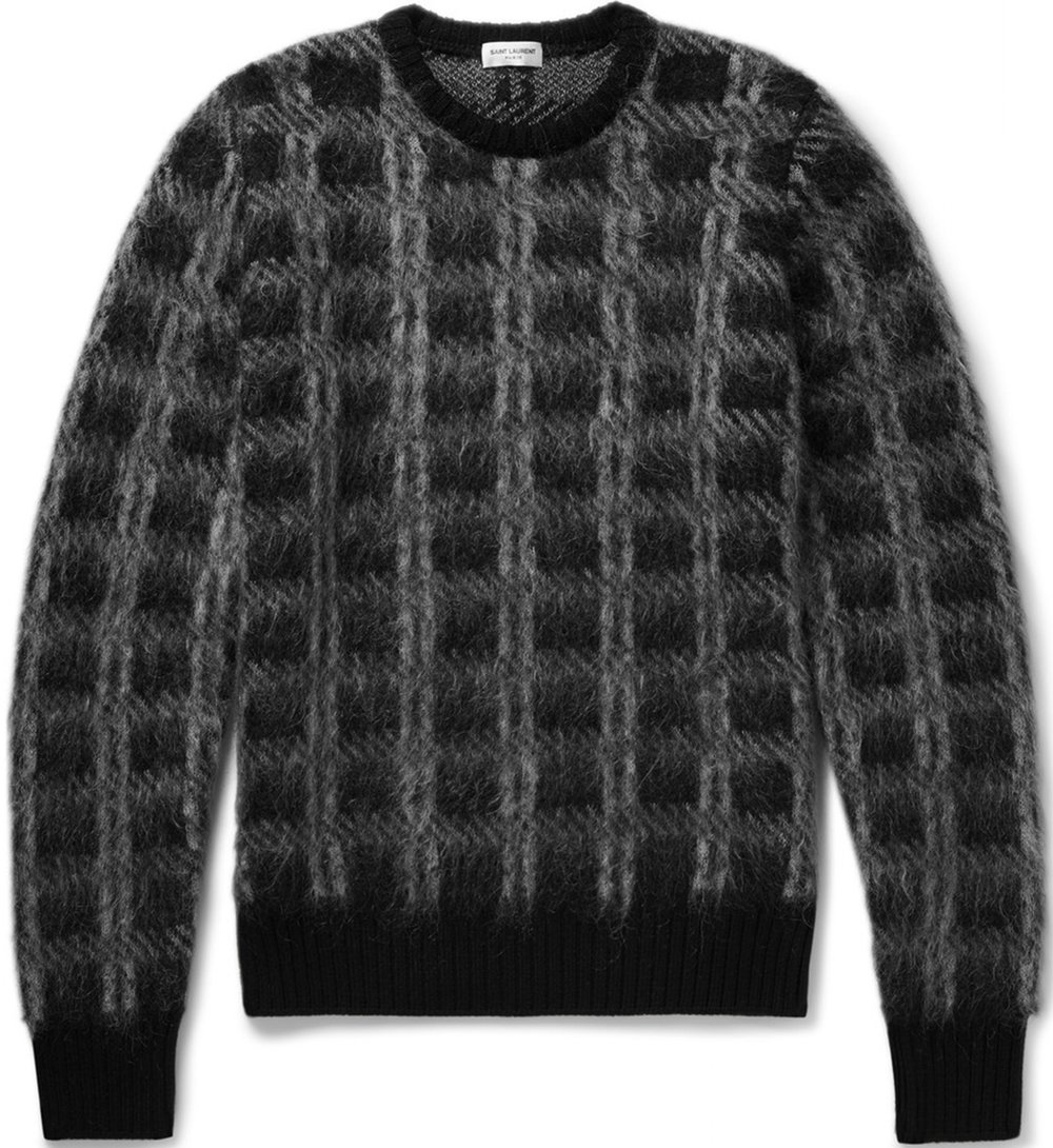 Saint Laurent Slim-Fit Checked Brushed Knitted Sweater at Mr. Porter, $790
