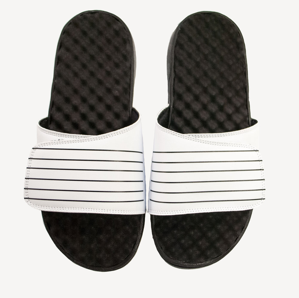 Grungy Gentleman Mens Slides White Black