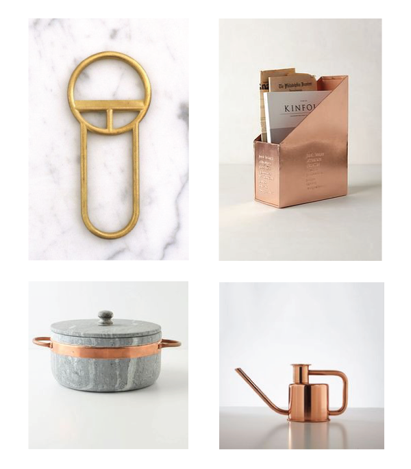 bottle opener // copper magazine holder // stock pot // watering can