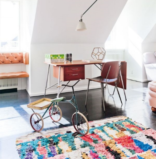 This playful Boucherouite rug in 'The Apartment' in Copenhagen