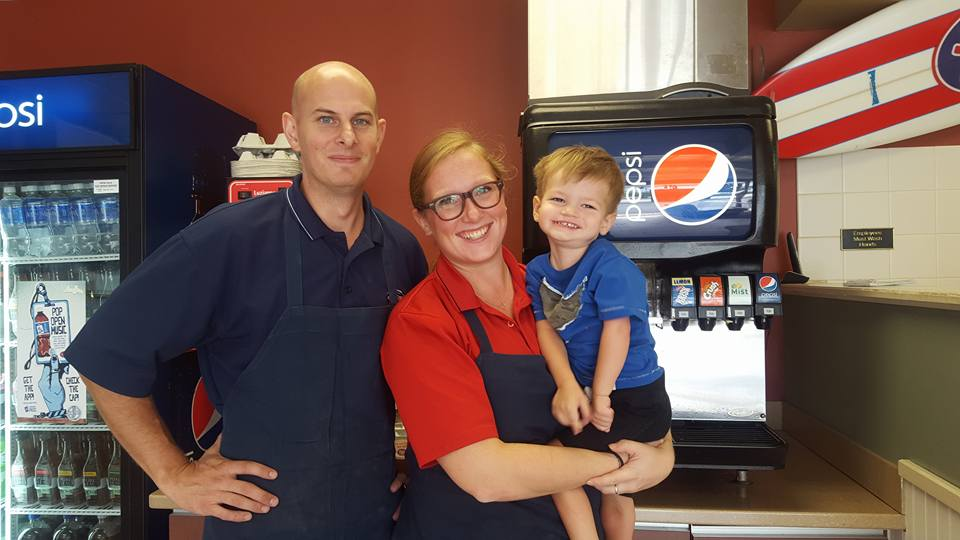 Harry and his friends Kyle and Amanda at Jersey Mike's on Aldrich Road in Howell.  These guys are amazing and have helped us in so many ways - we love them!  Go visit and get a delicious sub!
