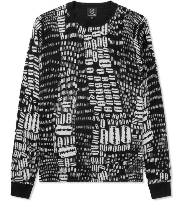 Black Razor Print Sweater