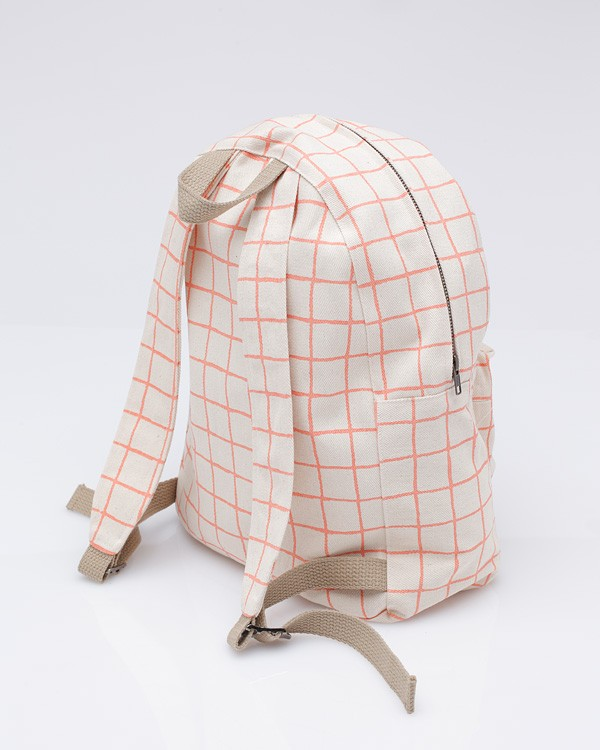 Beige Backpack in Grid