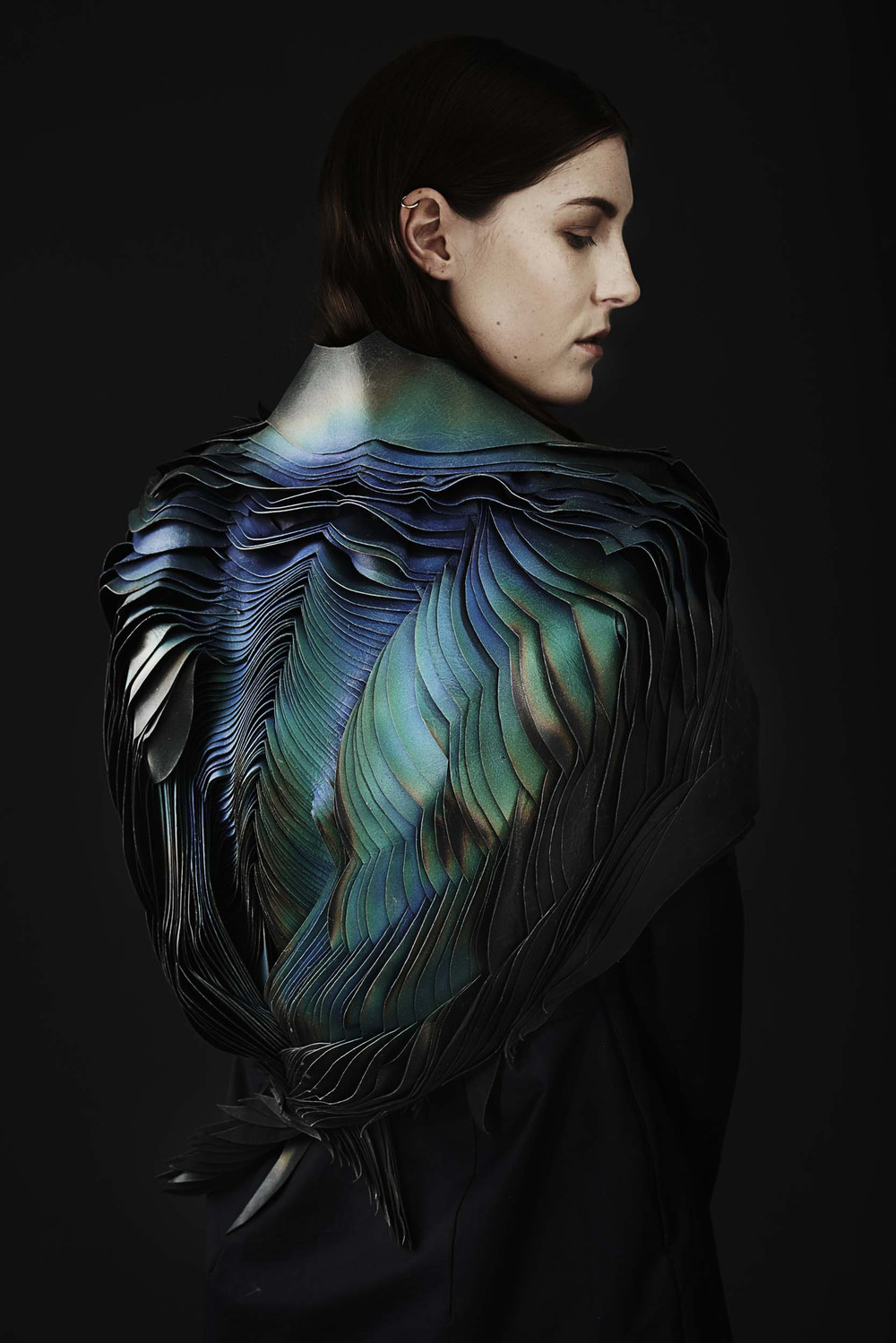 heat-sensitive  sculptural leather garment