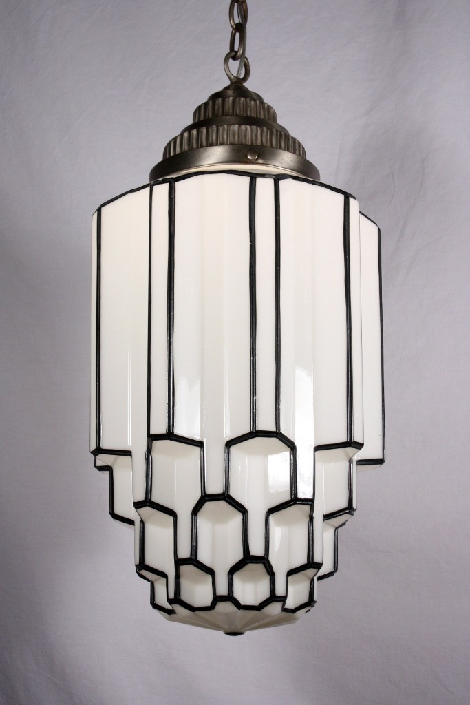 Antique Art Deco Pendant Light with Skyscraper Globe, c. 1930's