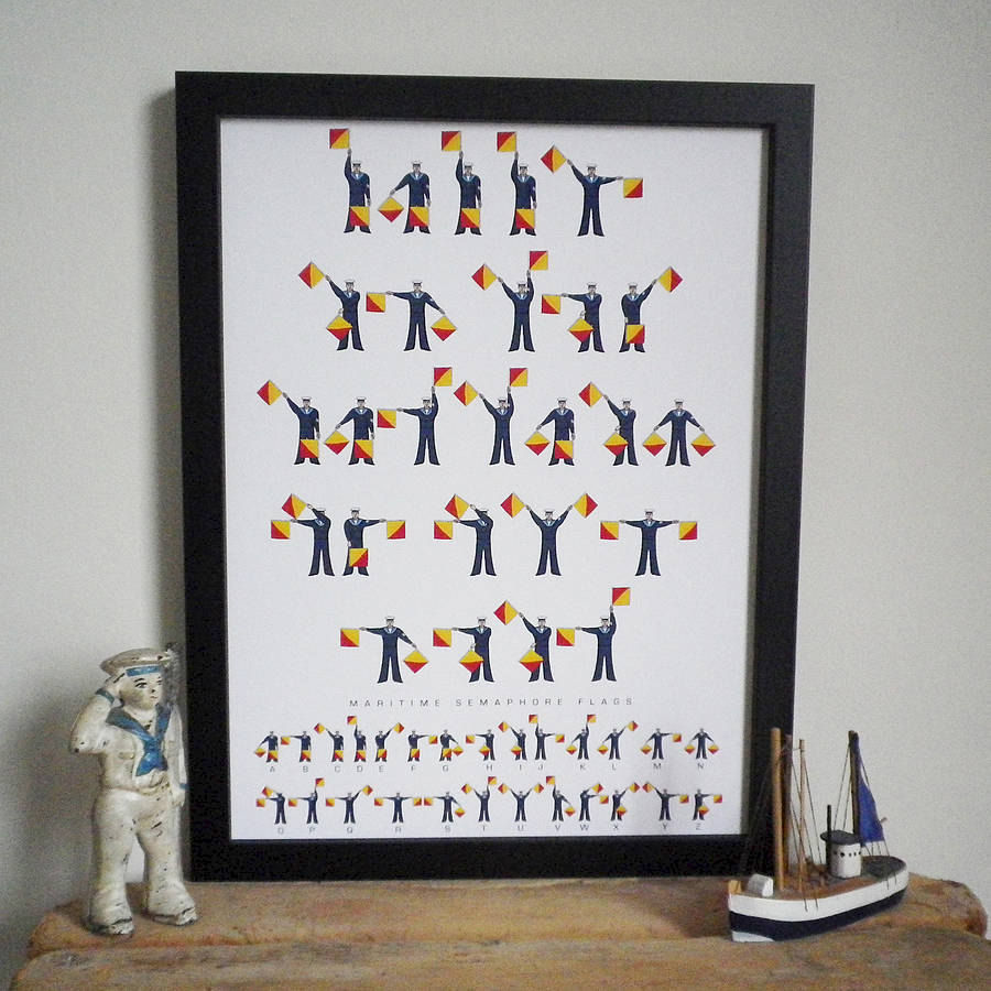 Maritime Semaphore Flags Message Print