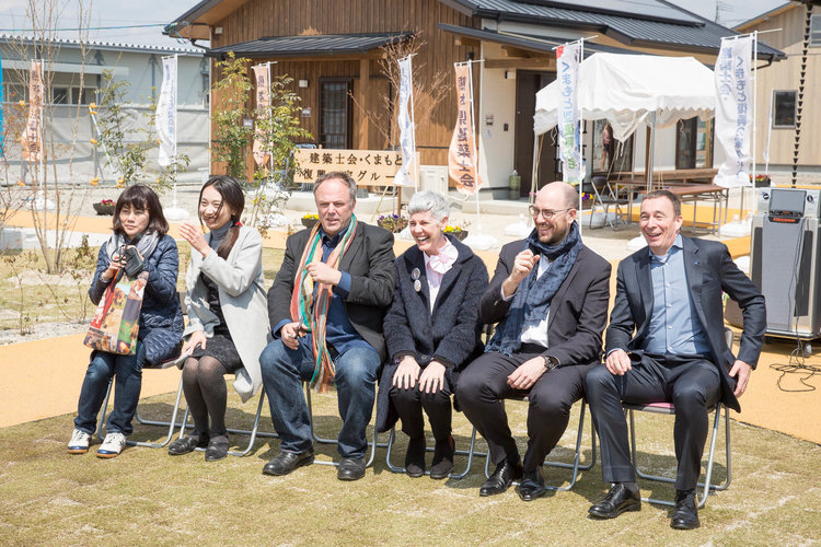 Attendees (L-R): Uesumi-san (Kumamoto Prefecture Civil Engineering Department Building Housing Department Architectural Section); Michiko Okano (Okano Building Design); Mark Dytham (Klein Dytham architecture); Astrid Klein (Klein Dytham architecture); Benjamin Dubuisu (Carl Zeiss Co.); Stephan Sakure (Carl Zeiss Co.)