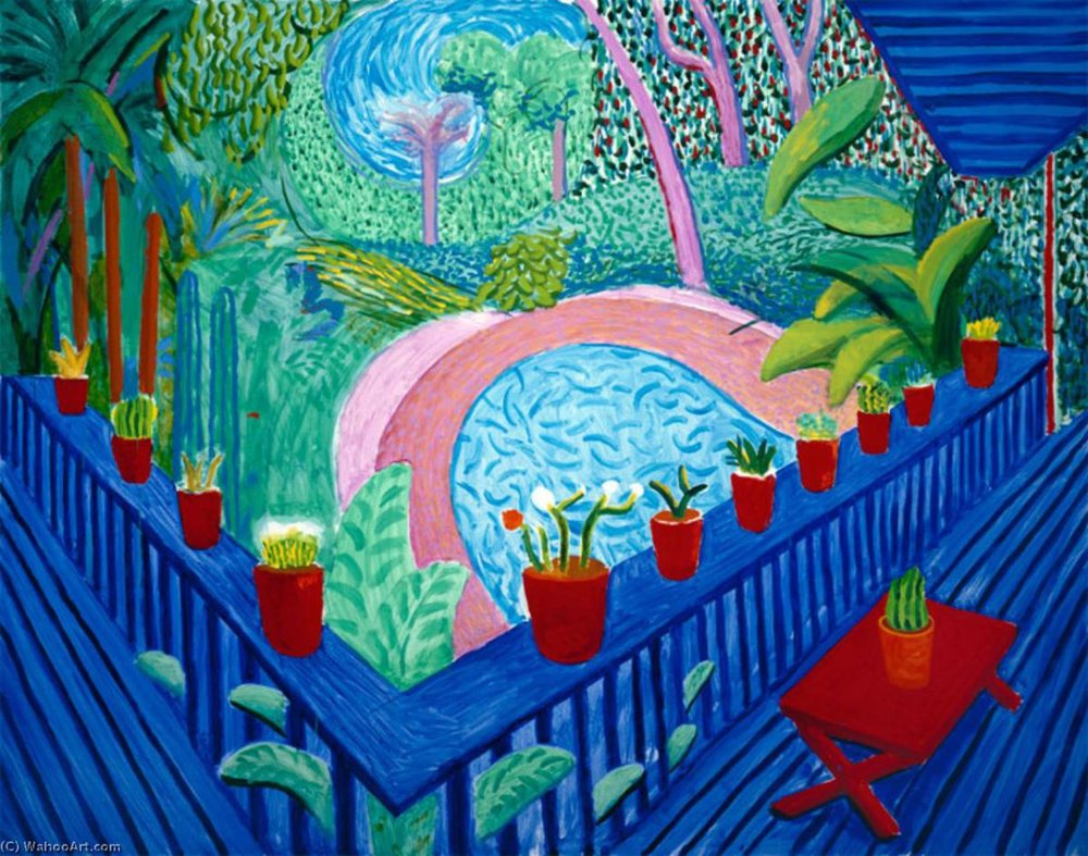 David Hockney: Red Pots in The Garden (2000).