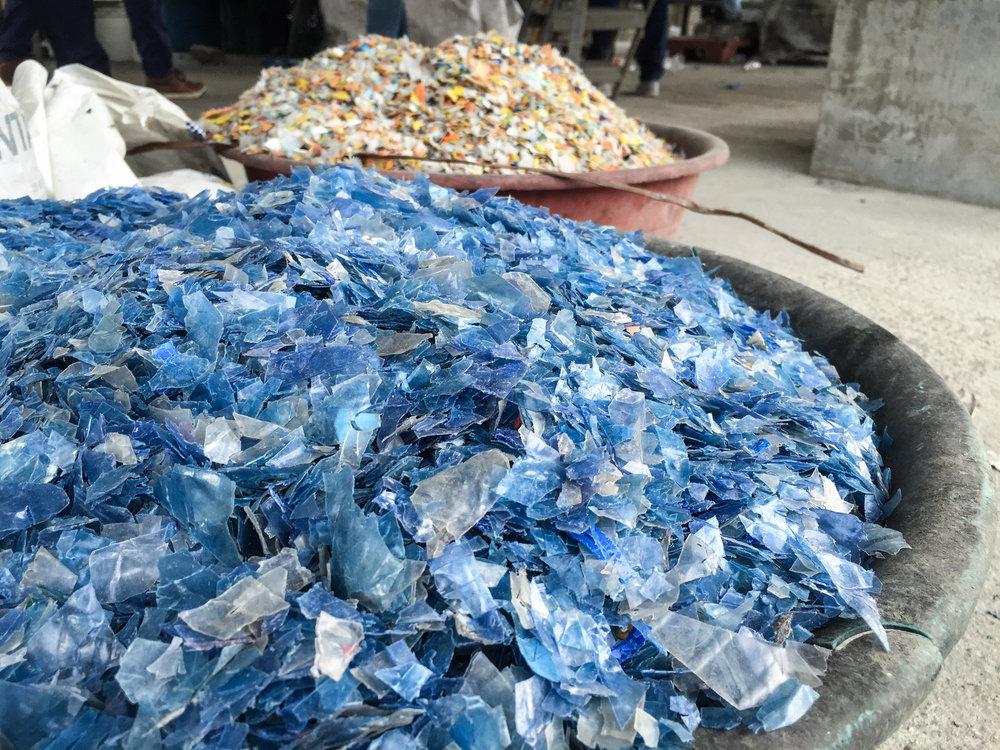 Plastic flakes.