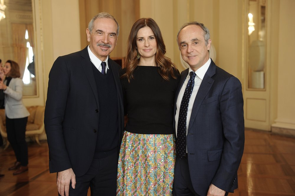 Carlo Capasa, Livia Firth and Michele Scannavini.