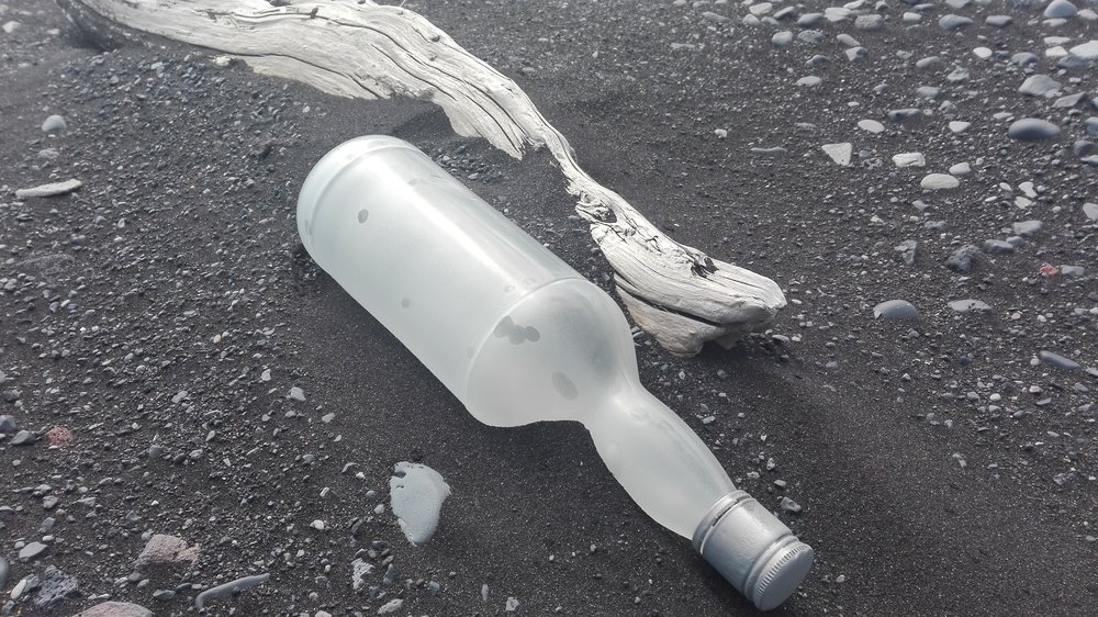 Plastic bottle littering Iceland's ocean shore / Photo: Author's own
