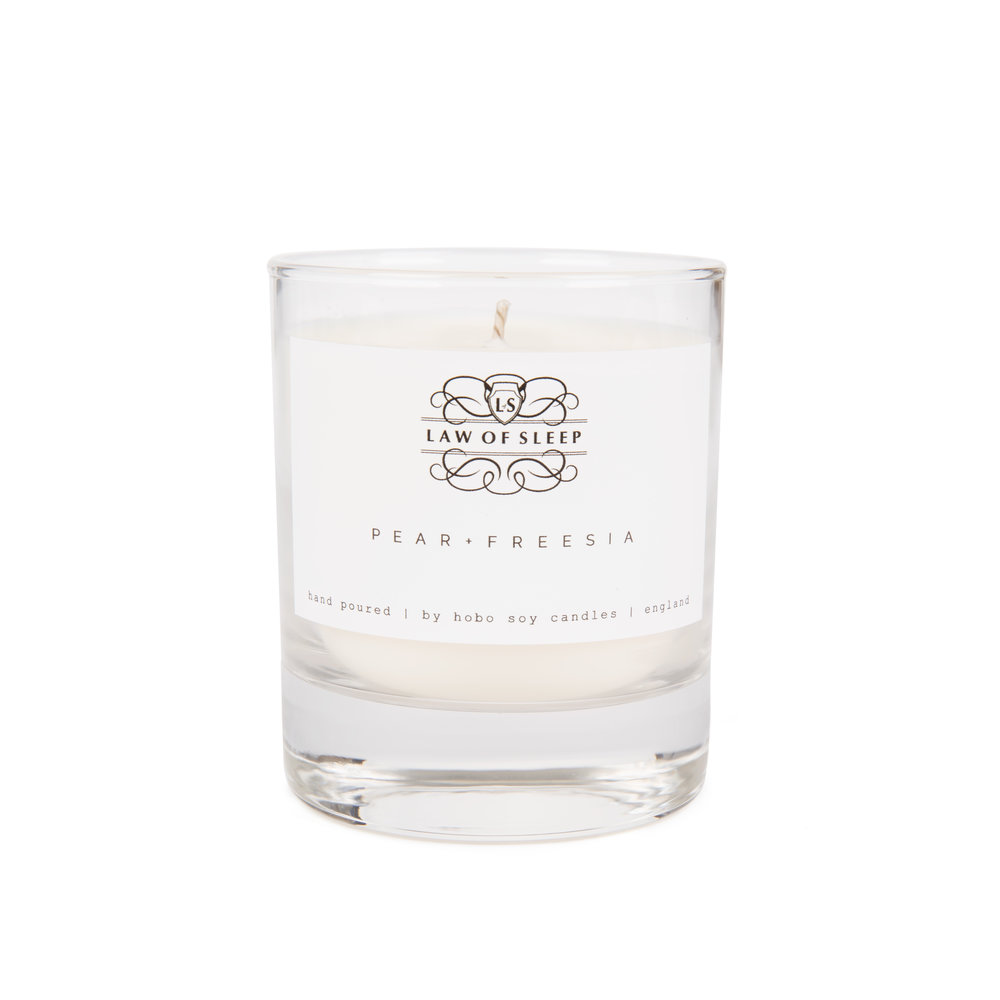 Law of Sleep: Pear & Freesia Soy Candle - Image: Law of Sleep