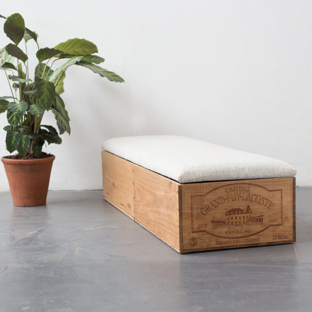 Image:  Made Anew Double Length Wine Crate Ottoman  / Find on Wearthlondon.com