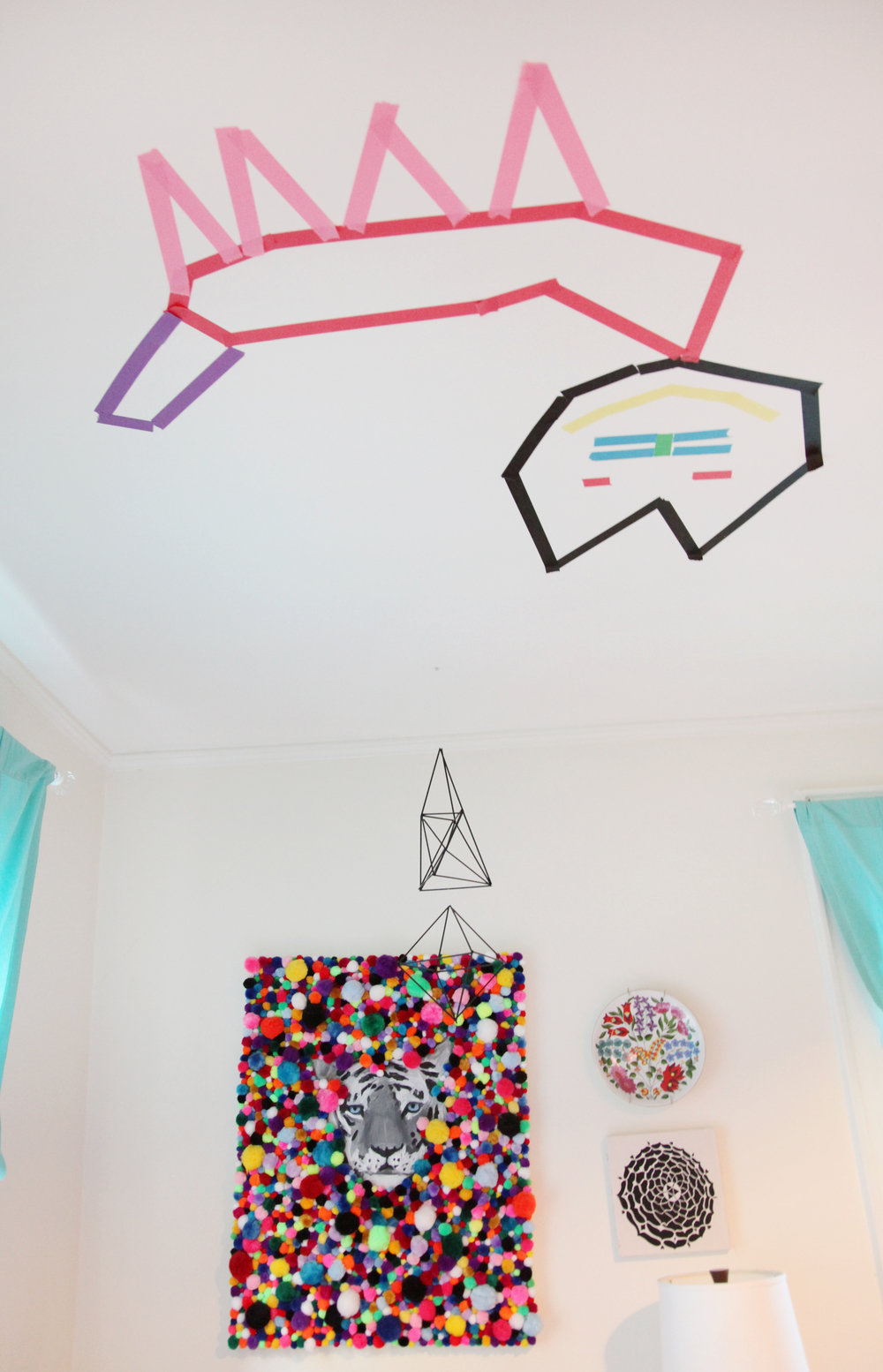 Heather's washi tape ceiling cat welcomes a sweet slumber.
