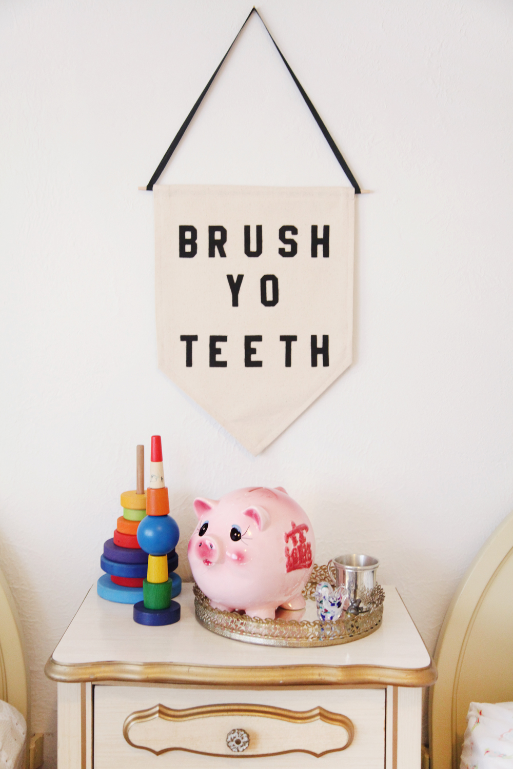 BRUSH YO TEETH wall hanging made by a Brooklyn friend,   Rayo & Honey .