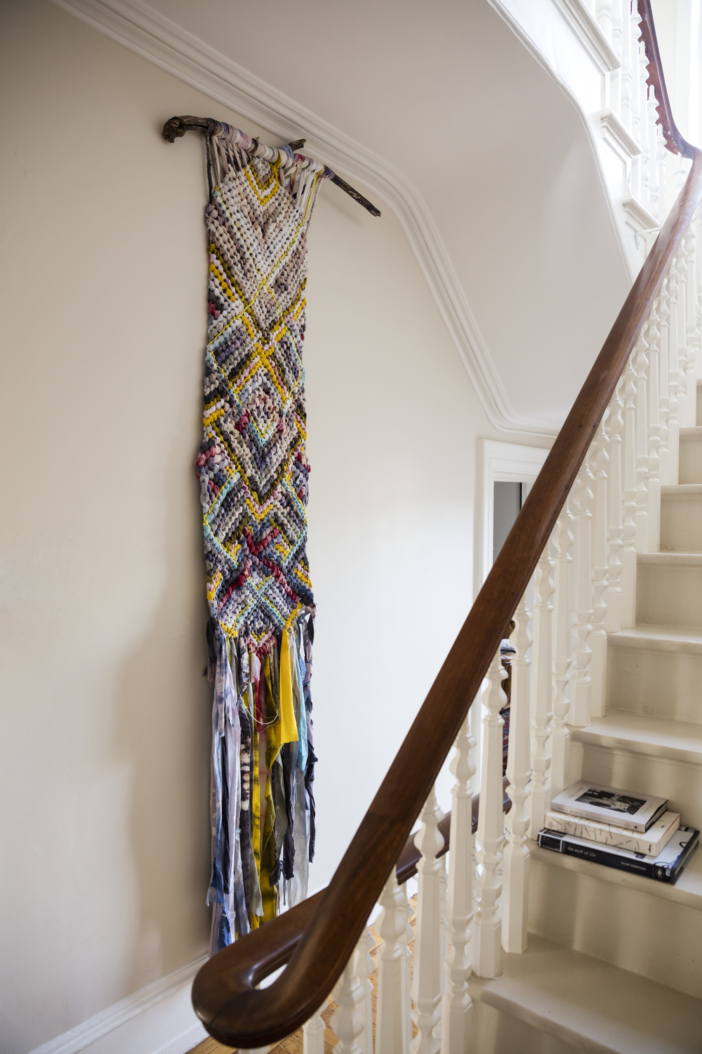 A stand-out textile piece in the hallway.