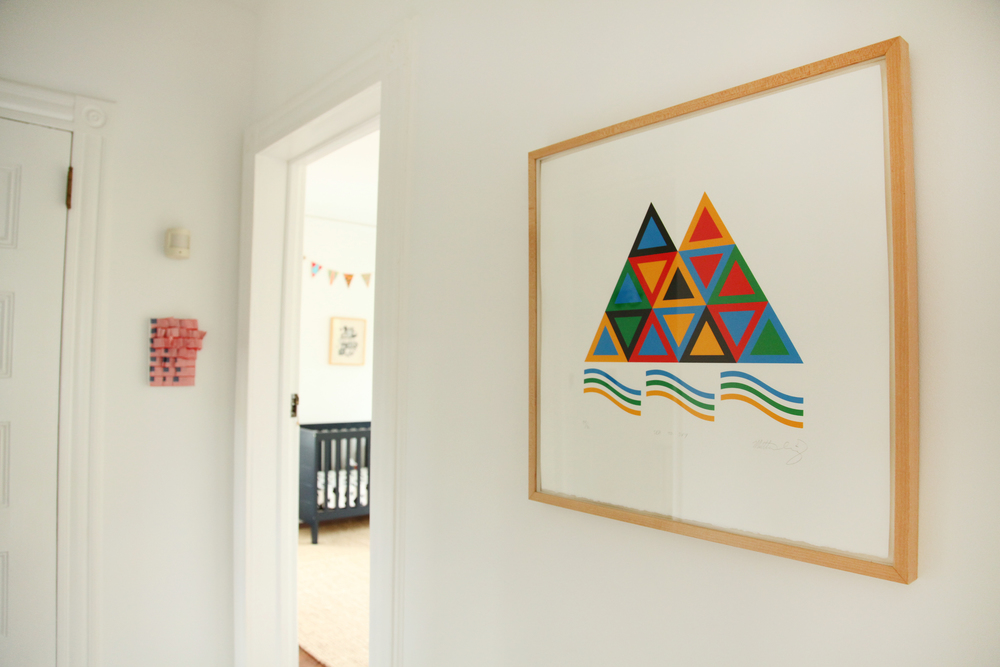 Triangle piece by  Matt Irving.  Danielle made the American flag collage that  hangs in the back.