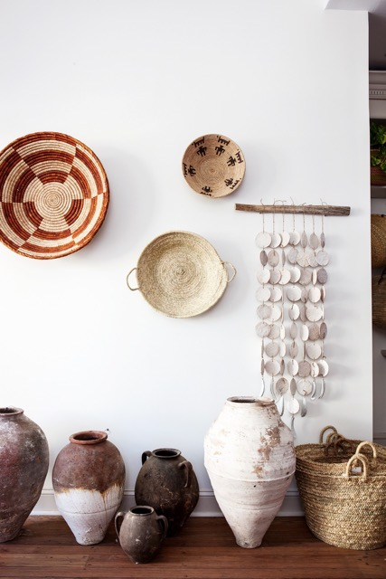 Ashley's amassed a collection of artisan-made and antique objects from years of travel.