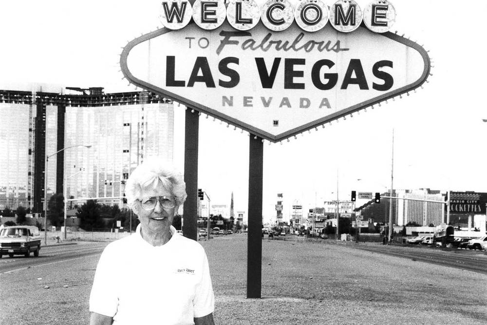 A handout picture provided by the Las Vegas News Bureau (LVNB) dated May 13, 1998, shows Betty Willis, designer of the iconic 'Welcome to Fabulous Las Vegas' sign. Darin Bush / LVNB / EPA