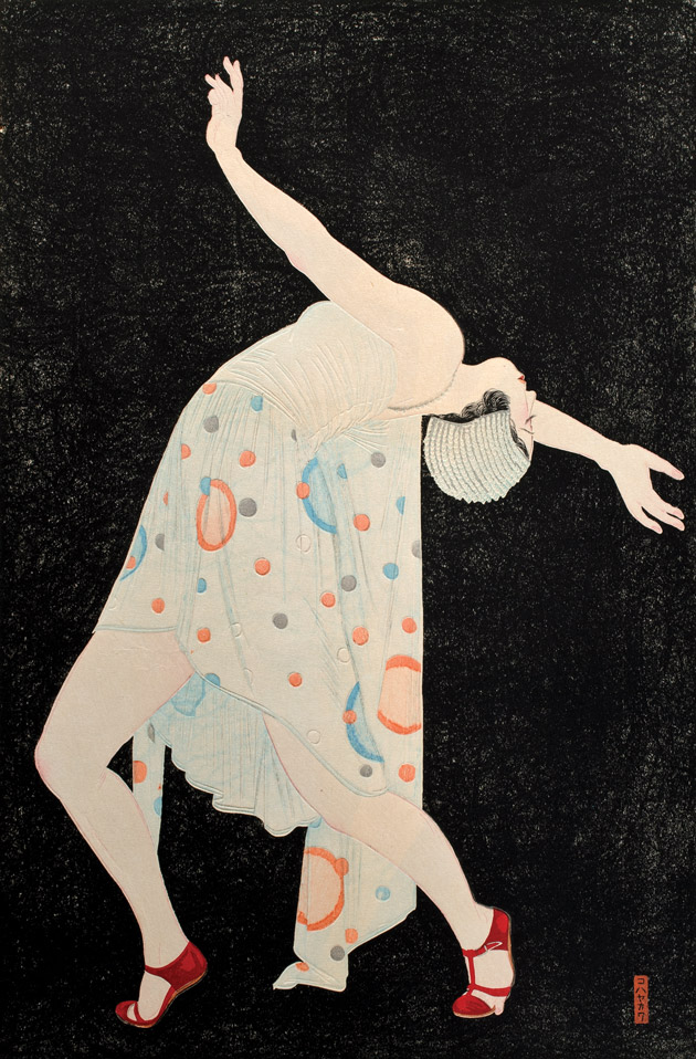 "DANCER, OR ""CURVED LINE OF THE INSTANT"" (DANSĀ, OR SETSUNA NO KYOKUSEN), 1932, KOBAYAKAWA KIYOSHI, JAPANESE, 1899 - 1948, INK AND COLOR ON PAPER, 24 X 20 IN."