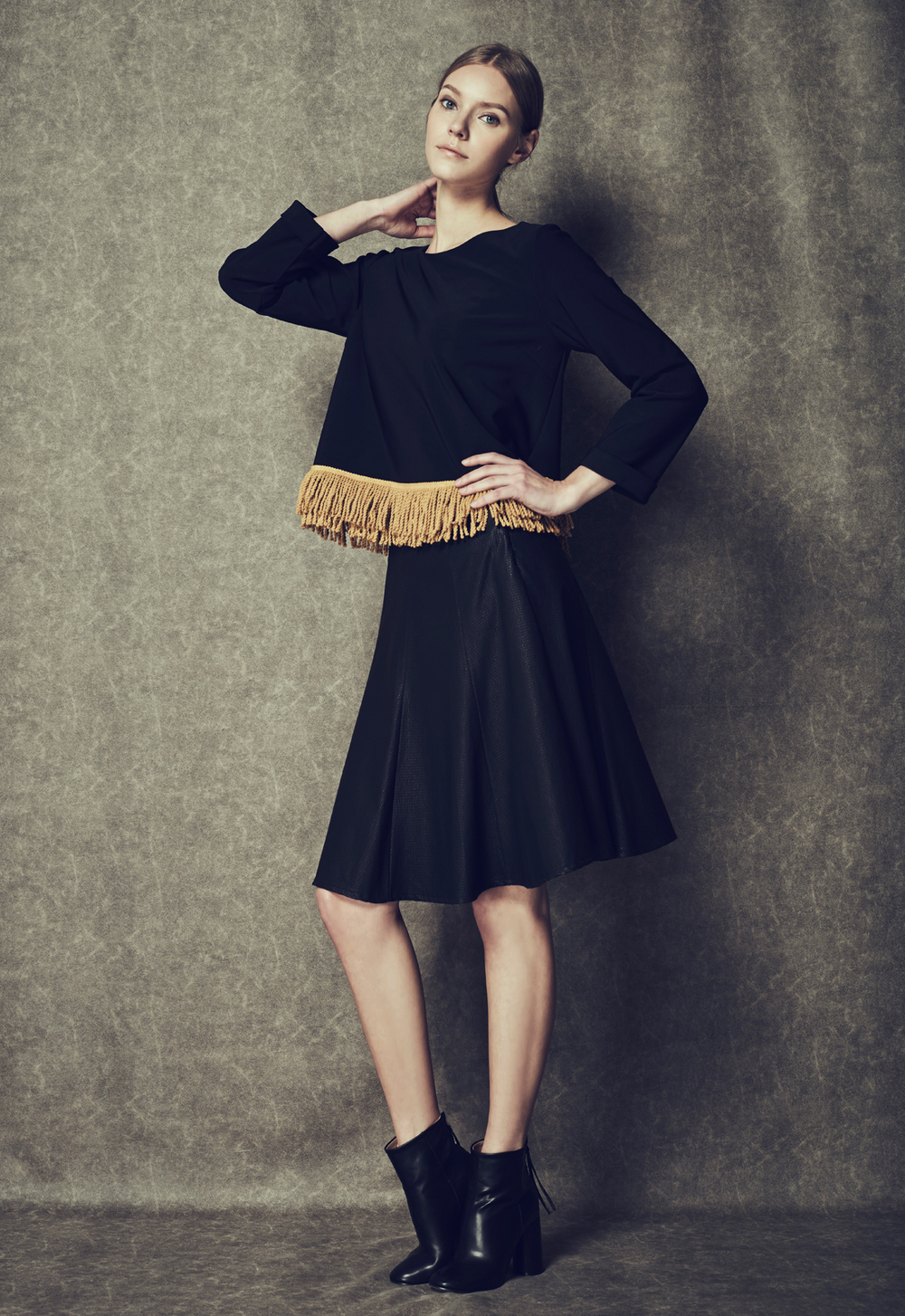 Tassel Hem Top & Leather Panel Skirt