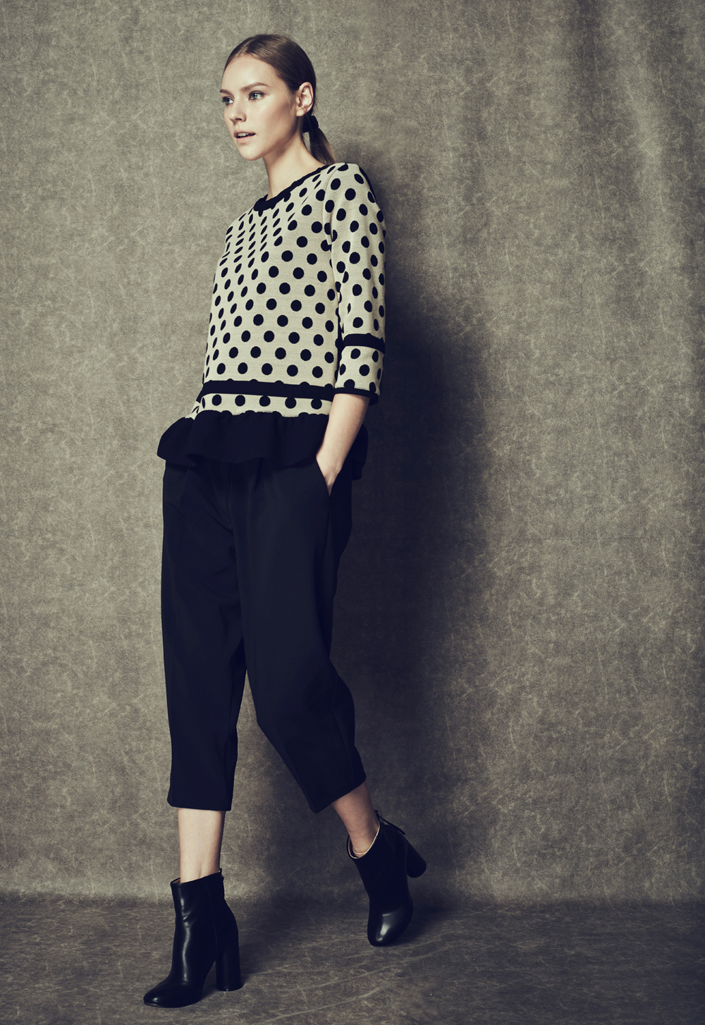 Polka Dot Frill Top & Volume Cropped Trousers