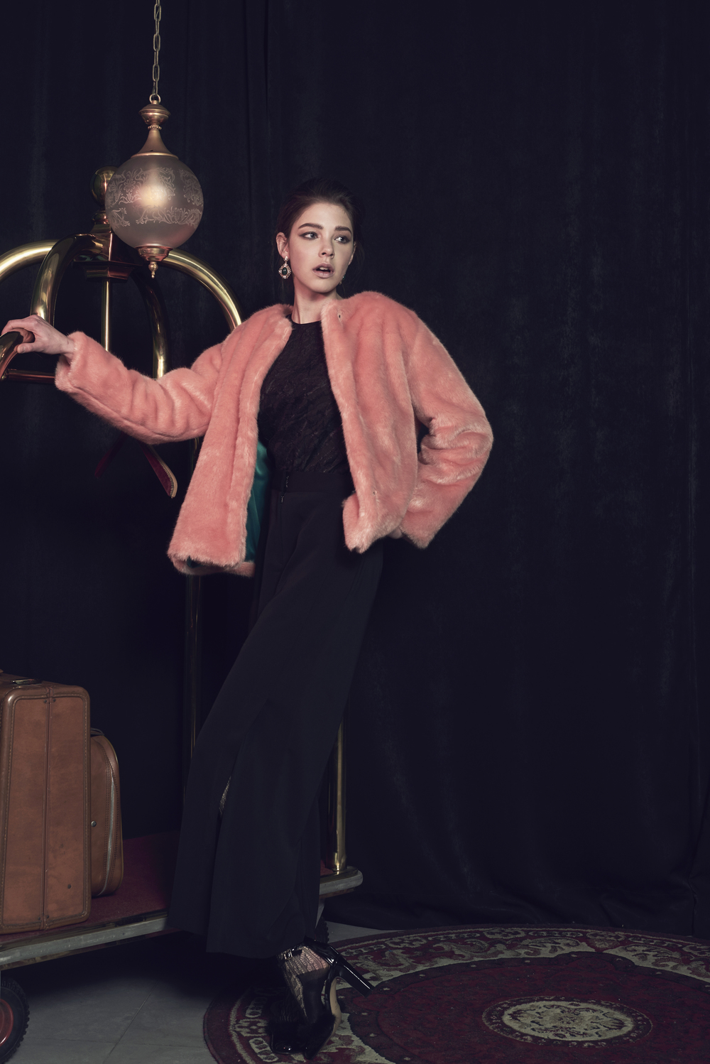 Coloured Faux Fur Coat, Textured Blouse & Side Open Trousers