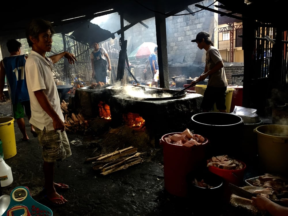 The first phase of preparing bagnet at 9 Sisters in Vigan. Photo: Kiki Aranita