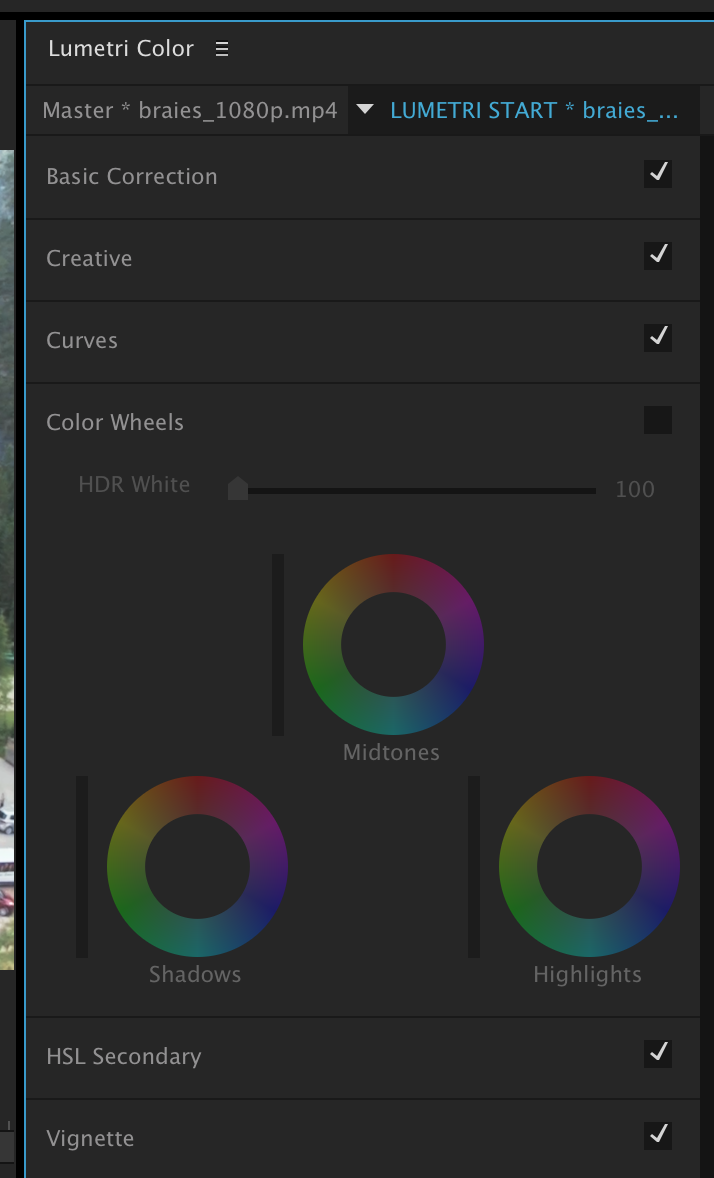 The Color wheels tab is disabled.