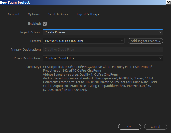 Choosing to Create GoPro Cineform Proxies and upload them to the web through Creative Cloud Files.