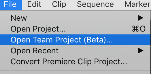 Opening a Team Project from the File menu.