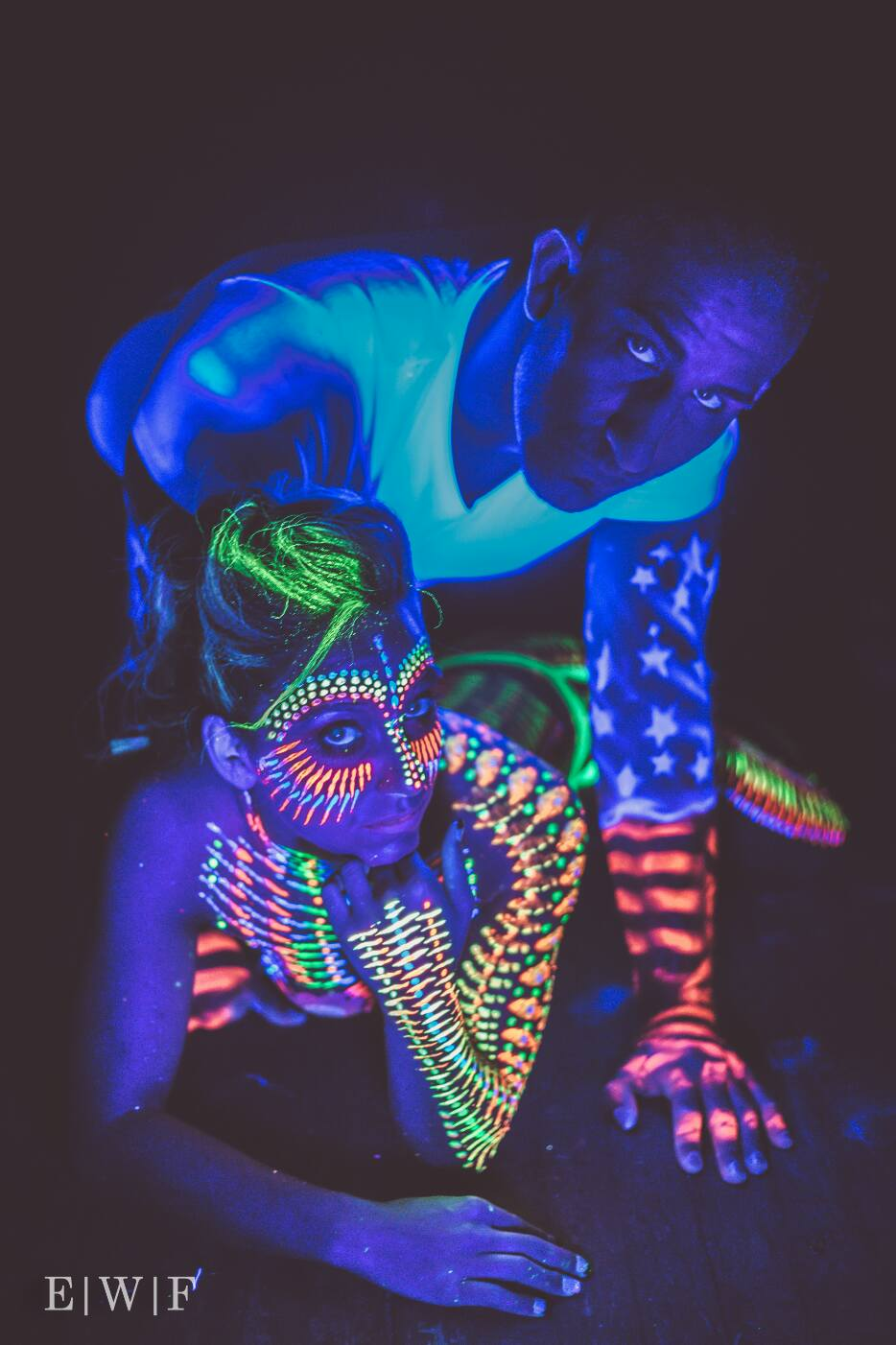 group patriotic usa body paint in UV blacklight paint